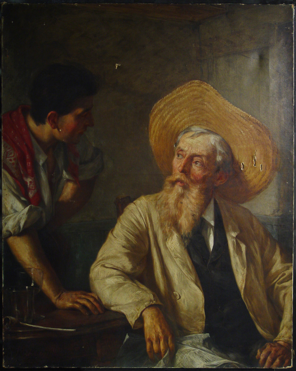 A Difference of Opinion, John Barnard Whittaker (1836-1926), 44 x 34 in., Oil on canvas.