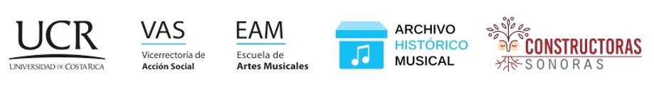 Logos for: UCR, VAS, EAM, Archivo Historico Musical and Constructoras Sonoras