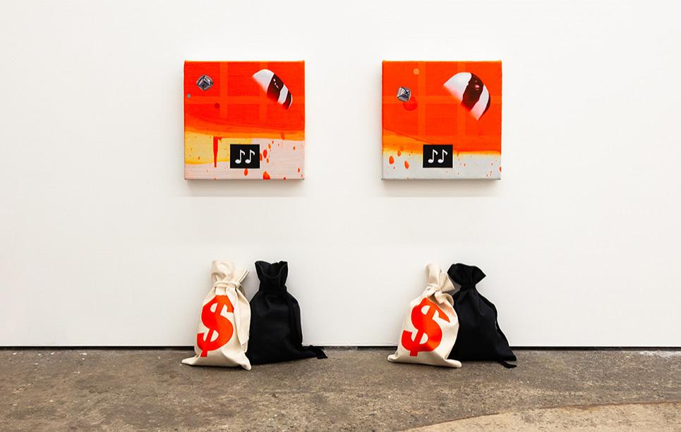 Orange Bandit1 & 2: oil & alkyd on canvas + acrylic on bag