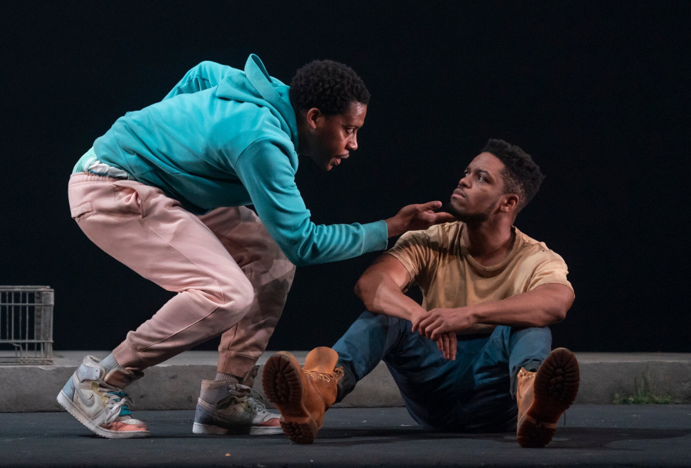 """Namir Smallwood as Kitch, left, and Jon Michael Hill as Moses in Antoinette Chinonye Nwandu's """"..."""