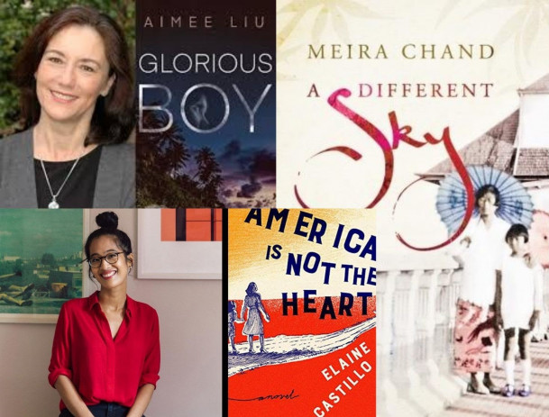 Aimee Liu (top left) and her book Glorious Boy, Elaine Castillo (bottom left) and her book Americ...